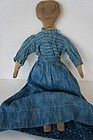 Pencil face antique cloth doll with blue calico outfit 15""