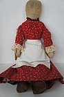 19th C antique cloth doll red calico dress pencil face 20""