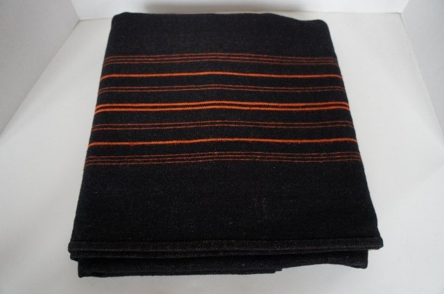 Antique homespun black and bittersweet wool blanket 1890