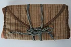Brown calico sewing roll in large size early and nice 1840 antique