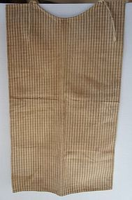 Early brown fabric child's bib made for ticking material