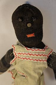 Antique black sock doll with button eyes rag stuffed