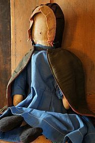 Big impressive antique Amish doll with great clothes 22""