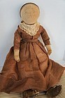 "Hand sewn linen 21"" cloth doll snood hair net Civil War era"