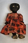 "19"" black stockinette doll embroidered face great hair early nice"