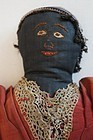 Circa 1880 topsy turvy doll with outstanding black embroidered face