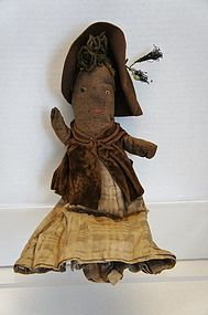 The dearest little stump doll black woman great clothes antique
