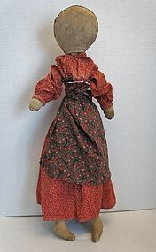 Tall pencil face antique rag doll with two faces,red calico dress