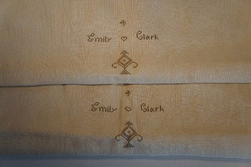 Two homespun natural antique pillow cases initials and heart
