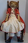 "37"" antique painted face cloth doll with great clothes"