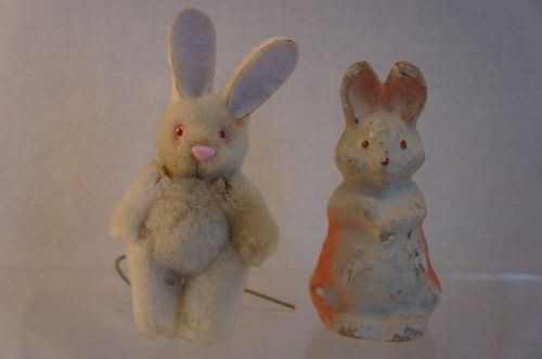 Two early bunny rabbits candy container and furry