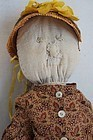 First selfie antique cloth doll embroidered face calico blouse