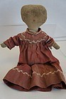 "13"" cloth doll with folky embroidered face big mitten hands"