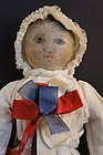 "Antique Columbian rag doll 15"" early mark of Emma Adams"
