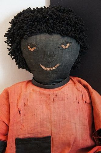"""Very large black cloth doll with a great face all original 28"""""""