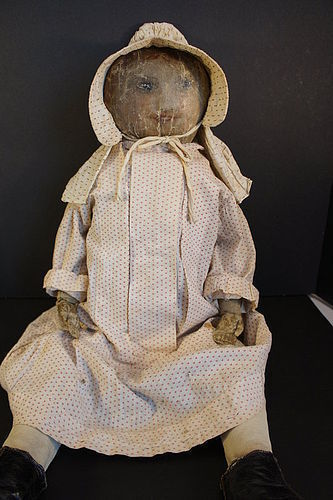 """Big antique oilcloth doll painted face red hair 30"""""""