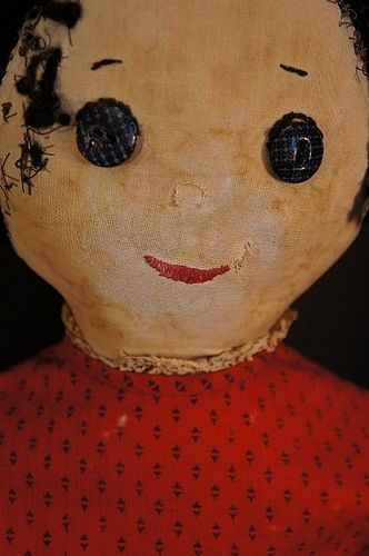 """Antique cloth doll calico button eyes and red dress 25"""""""
