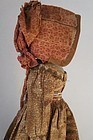 "Wooden doll orig brown calico dress 16"" circa 1830"