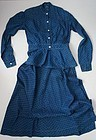 Woman's 19th C. blue calico 2 piece dress antique