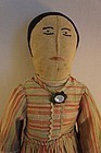 Antique embroidered face cloth rag doll with a great face