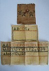 3 sampler fragments with alphabet and borders antique