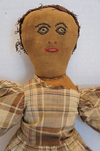 Unusual black cloth doll great face and hair antique