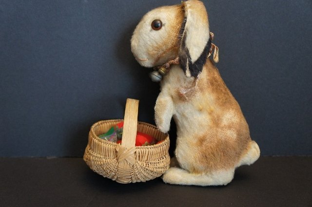 """10"""" Steiff mohair rabbit with lots of bells around her neck."""