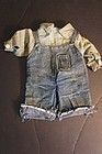 Small antique pair of doll or teddy bear jeans and work shirt