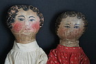 Pair of antique sister dolls with oil painted faces, early and nice
