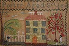 Two samplers by Sarah Porter simple alphabet house man fences antique