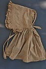 Antique bonnet in butterscotch onion skin check great form detail