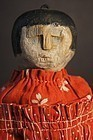 Small antique wooden painted face doll red calico dress