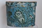 A perfect size Hannah Davis wallpaper hat box Jaffrey NH 1840's