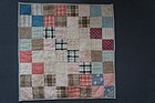 19th C antique doll quilt with early calico fabric