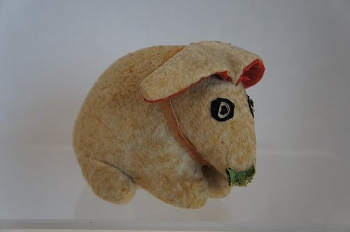 "19th C. flannel toy rabbit with lettuce all original 6"" antique"