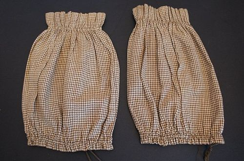 A pair of brown check cotton sleeve protectors exc. cond. 1880's