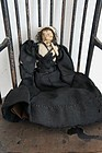 Small nut doll Civil War Era with black dress, early petticoat antique