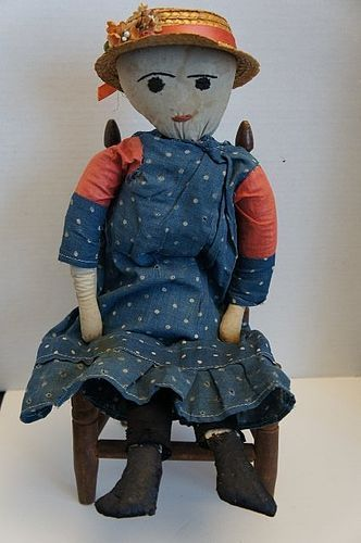 """19"""" embroidered face cloth doll blue calico dress antique early"""