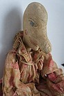 A 19th c Punch as in Punch and Judy orig. clothes leather face