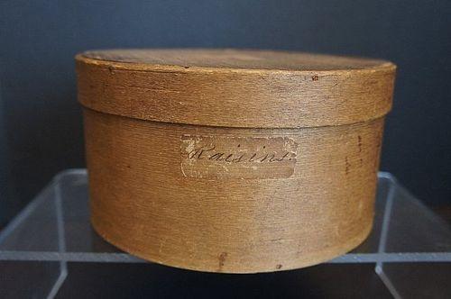 Antique pantry box with Raisin label 1830-40