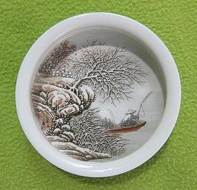 Chinese Snow Scene Brushwasher by Yu Wenxiang