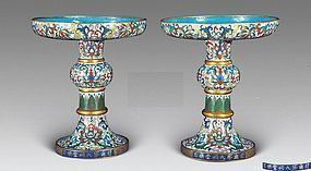 Rare Pair of Chinese Antique Cloisonne Dish with Two Marks