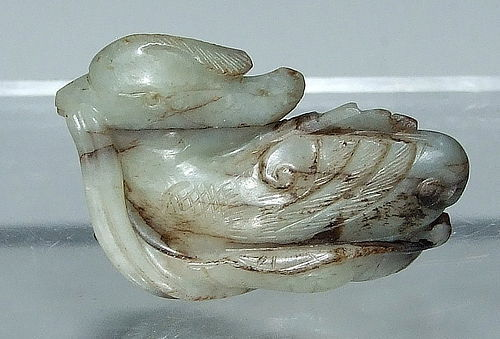 Antique Chinese Celadon Jade Mandarin Duck