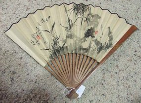 Chinese Qing Dynasty Painted Fan with Carved Stick