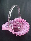 Fenton Cranberry Opalescent Hobnail Basket - Large