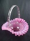 Fenton Cranberry Opalescent Hobnail Basket - Large