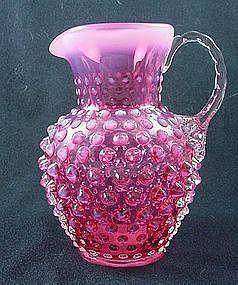 Fenton Cranberry Opalescent Hobnail Jug