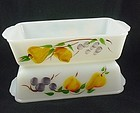 FireKing Hand Painted Fruits Loaf Pan