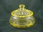 Block Optic Low Candy Jar & Cover  - Yellow