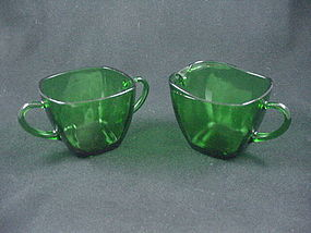 FireKing Charm Sugar & Creamer Set - Forest Green